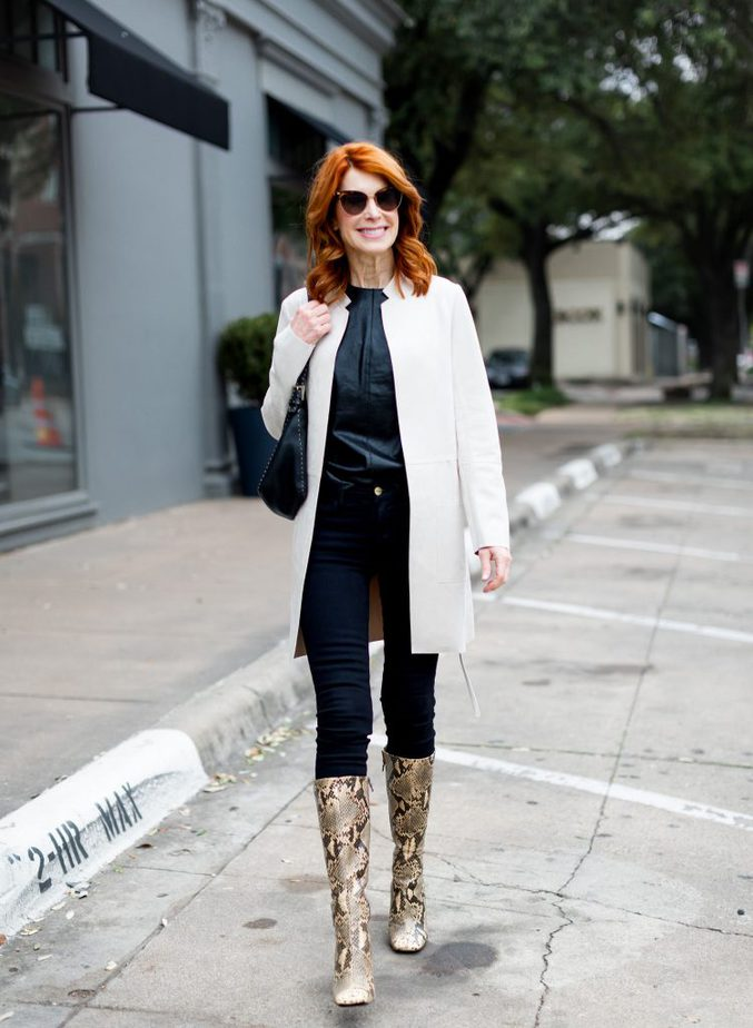 White Suede Jacket with All Black