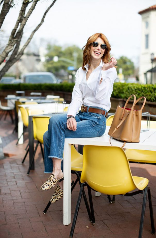 White Button Down, Jeans, and Leopard Gucci Loafer