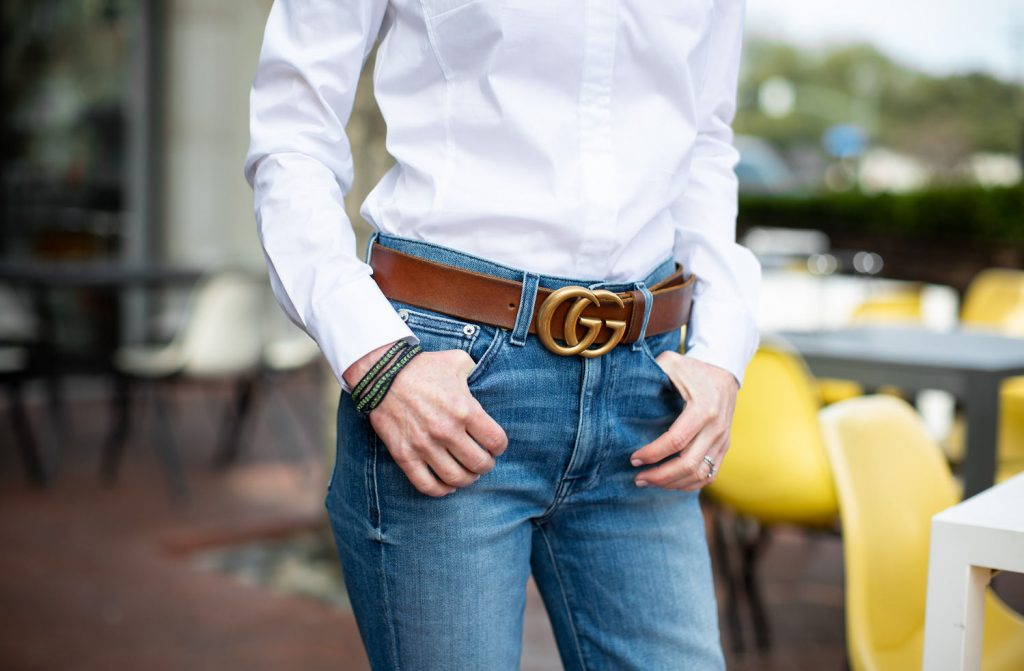 White Button Down and Jeans with Brown Gucci Belt