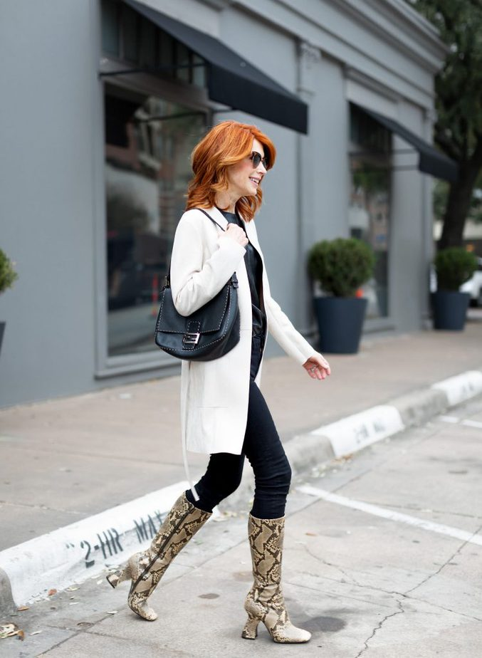 White Suede Jacket with All Black + Snake Boots