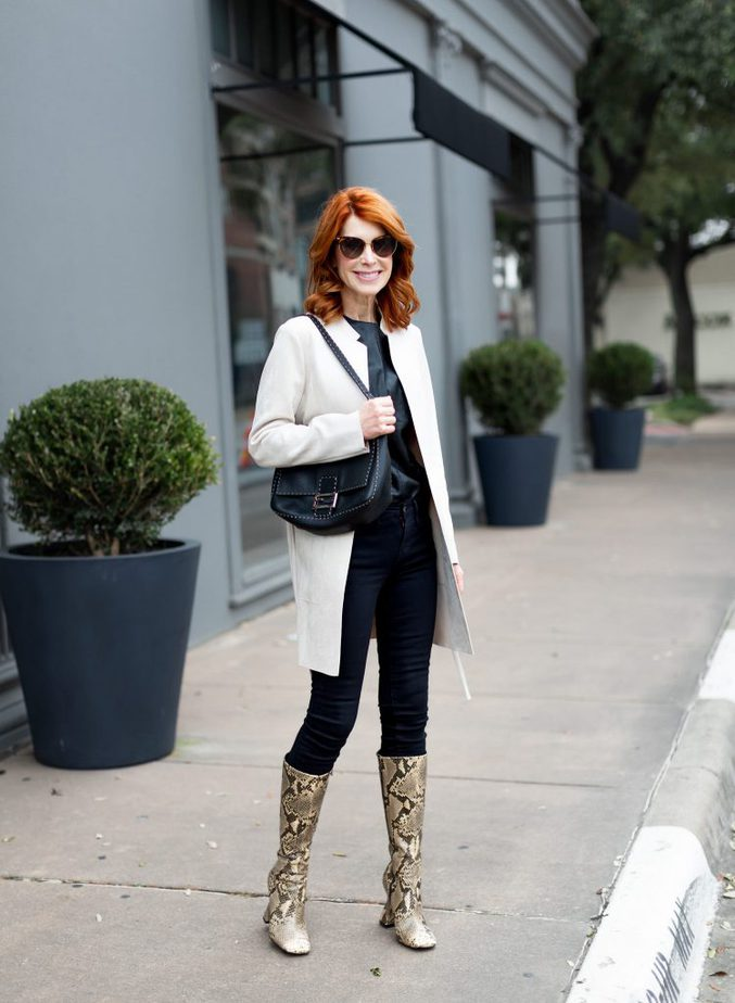 White Faux Suede Jacket with All Black