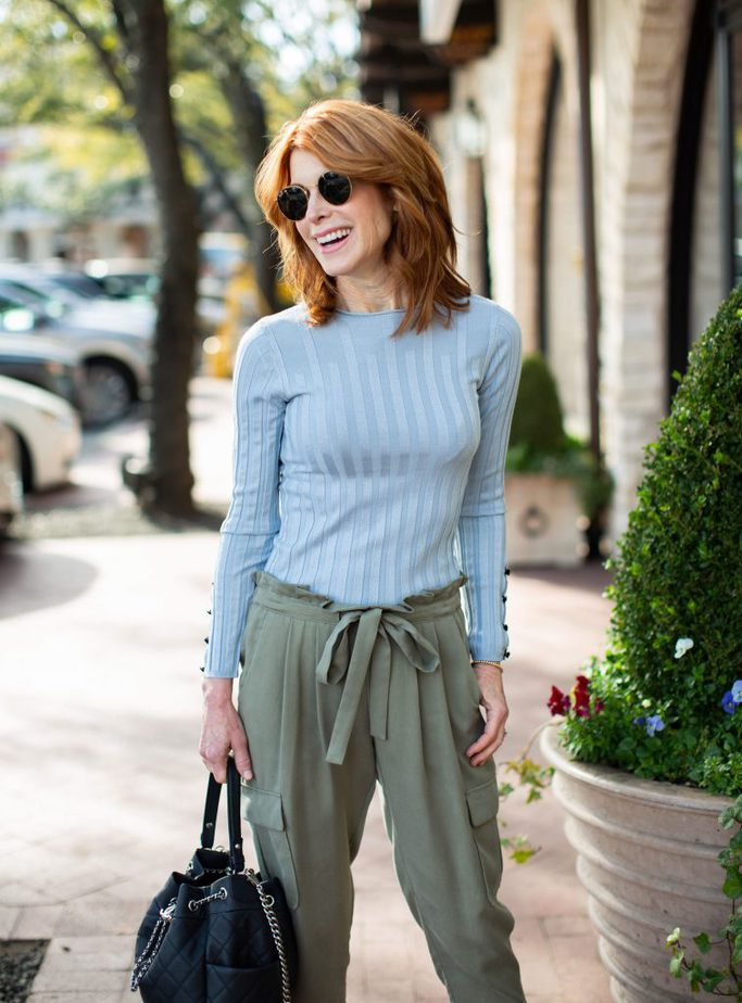 Green Chic Cargo Style Pant with Baby Blue Ribbed Sweater - The Middle Page