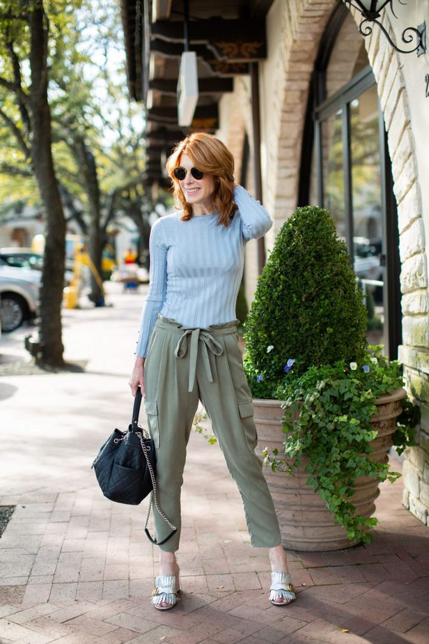 Green Chic Cargo Style Pant with Baby Blue Ribbed Sweater