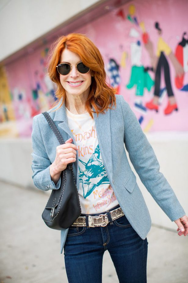 Blue Blazer with Graphic Tee for Spring