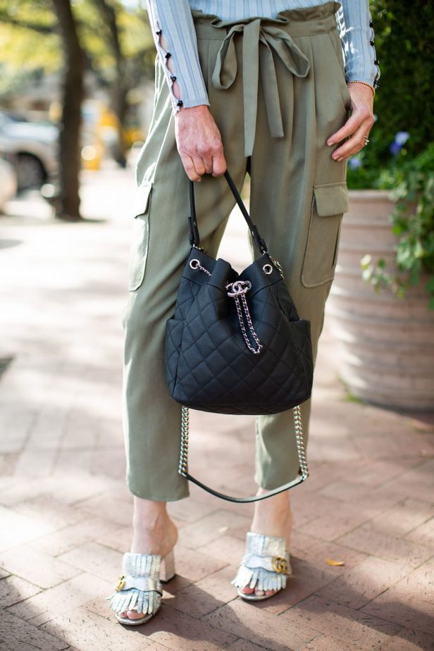 Green Chic Cargo Style Pant with Baby Blue Ribbed Sweater + Black bag
