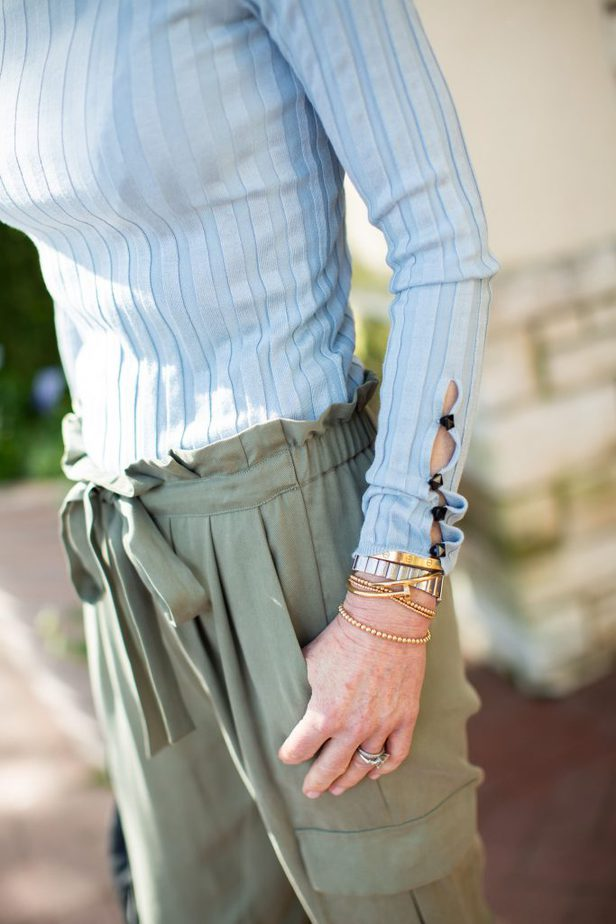 The Middle Page - Green Chic Cargo Style Pant with Baby Blue Ribbed Sweater