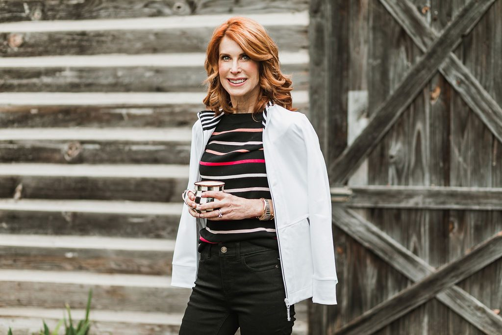 White Jacket with Black Striped Sweater, Black Jeans