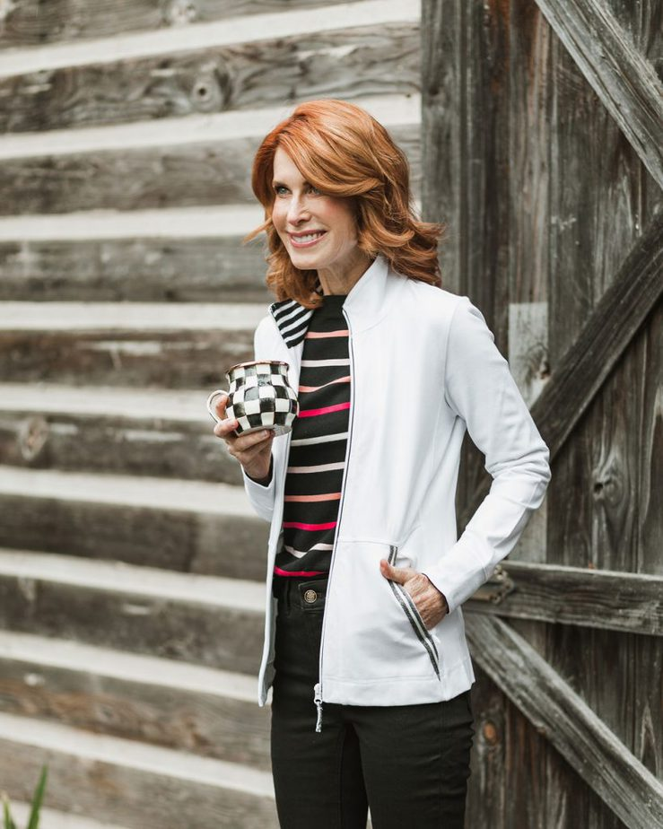 White Jacket with Black Striped Sweater, Black Jeans by Cathy Williamson