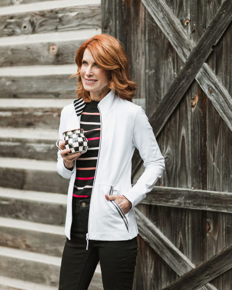 White Jacket with Black Striped Sweater, Black Jeans, and Pink Loafers by Cathy Williamson
