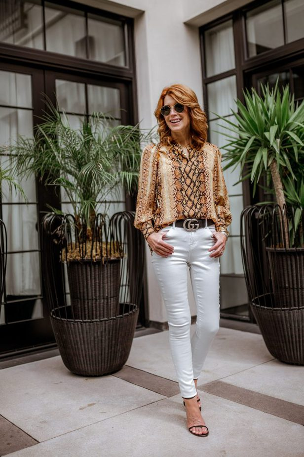 Golden color snake print with white jeans