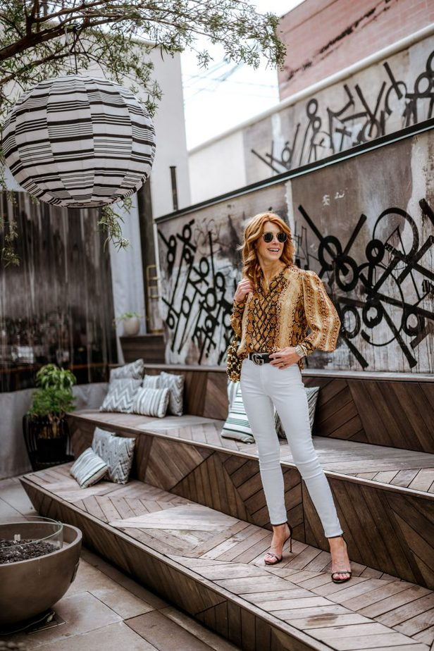 Snake Print Blouse by Cathy Williamson