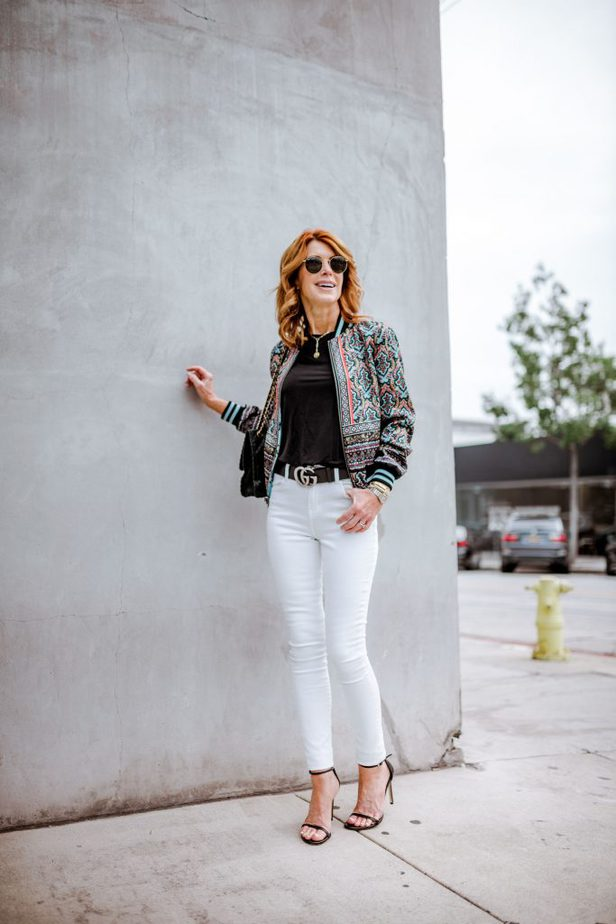 Alice & Olivia Multi-Color Bomber Jacket with White Jeans