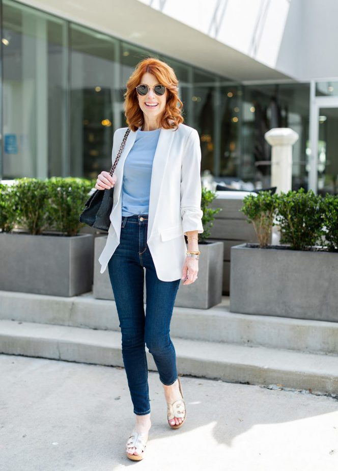 White Ruched Sleeve Blazer with Baby Blue Tee