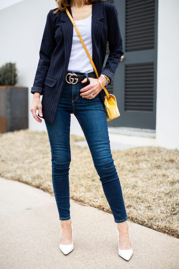 Navy Pinstripe Boyfriend Jacket with White Tank, Jeans and White Pumps