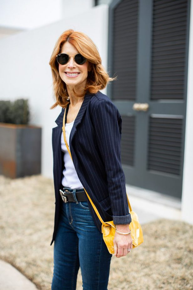 Navy Pinstripe Boyfriend Jacket with White Tank, Jeans