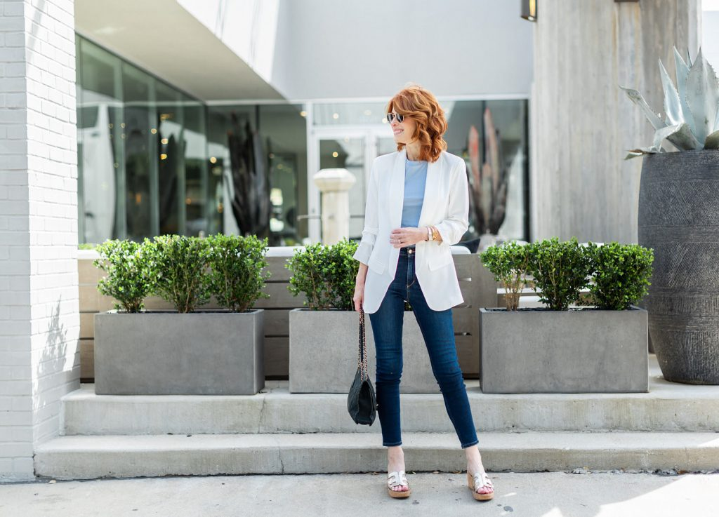 White Ruched Sleeve Blazer by Aqua with Baby Blue Tee