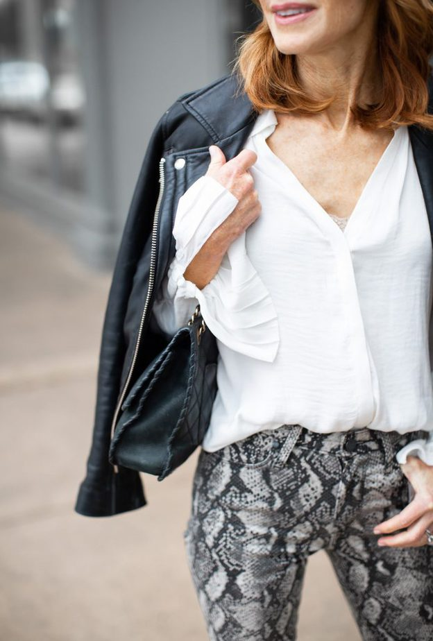 White Bell Sleeve Blouse and Snake Print Jeans