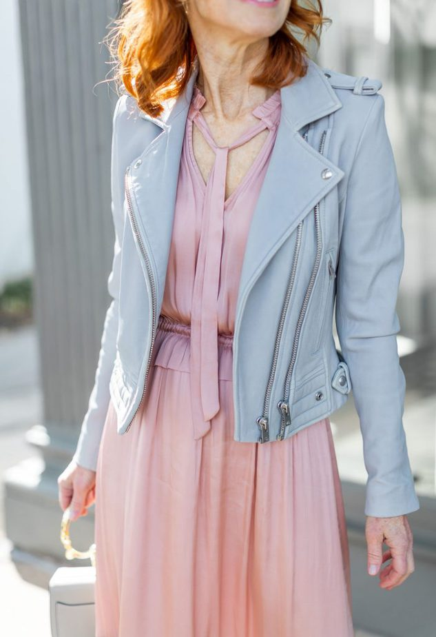 Pink Satin Maxi Dress with Grey Leather Jacket
