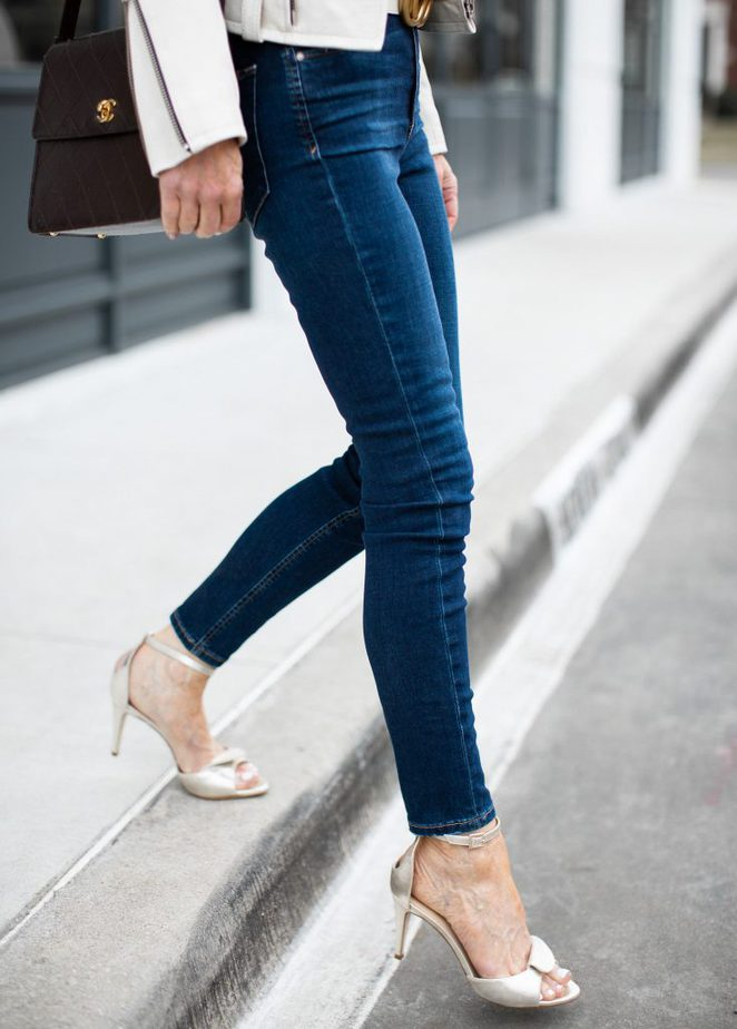 Jeans and Gorgeous Gold Sandals - Benincasa MIlano