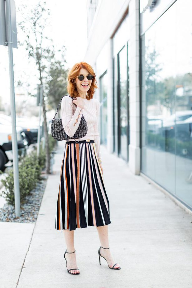 Multi-color skirt with pale pink top