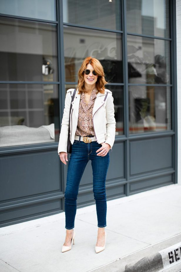 Snake print shirt with White Moto Jacket, White Gucci Belt and jeans