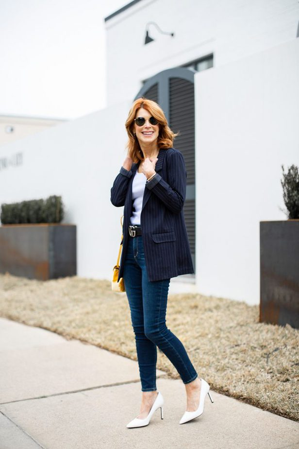 Outfit details: Navy Pinstripe Boyfriend Jacket with White Tank, Jeans and White Pumps