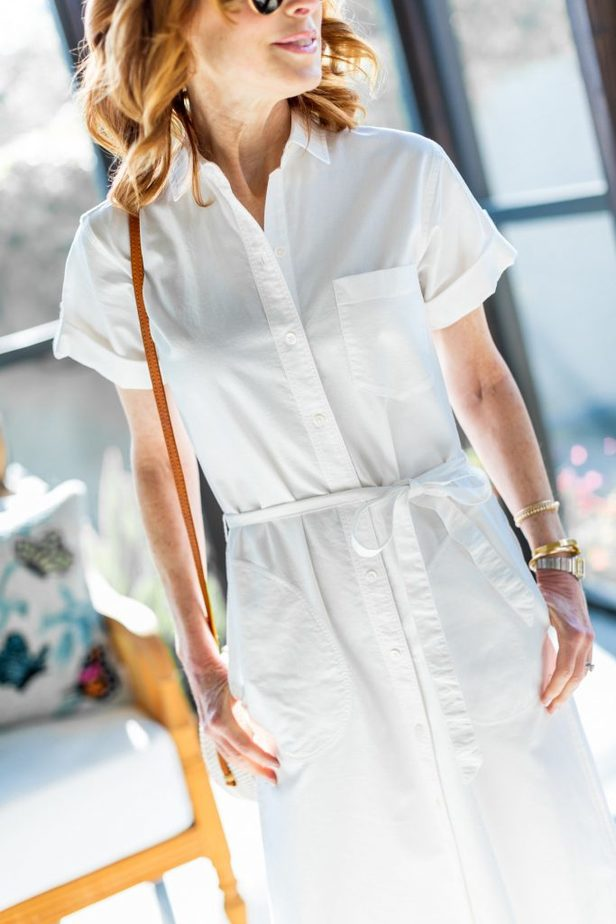 White Shirtdress with Round Wicker Bag
