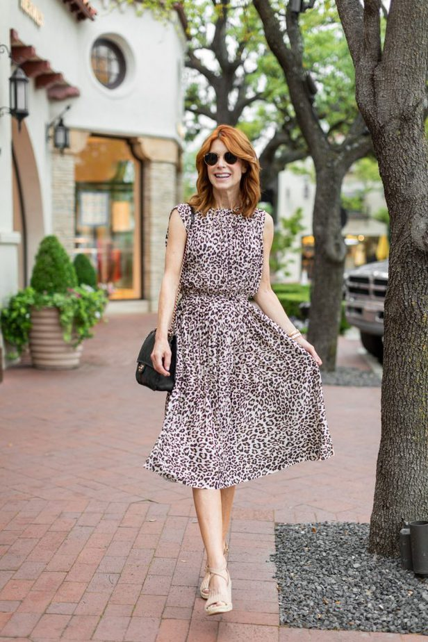 Pleated Leopard Dress