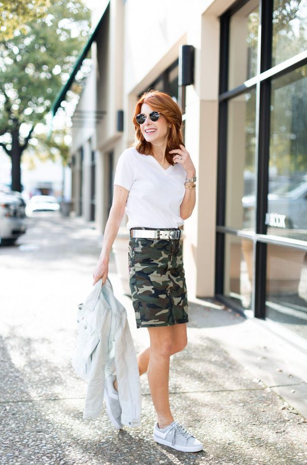 Camouflage Skirt with White Tee and Denim Jacket
