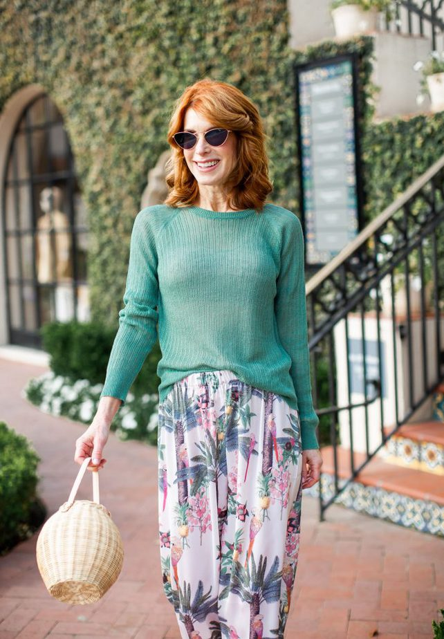 Palm Tree Pajama Pants with Green Sweater and Straw Bag