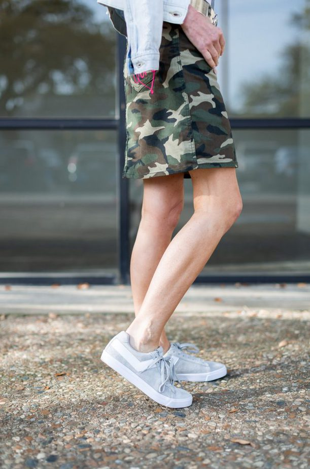 Camouflage Skirt with White Tee and Denim Jacket - We Dress America Campaign featured