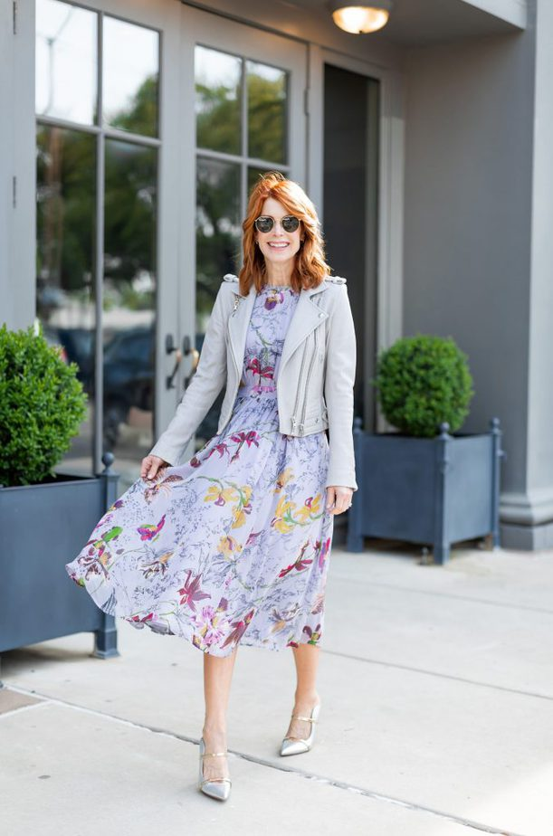 Purple Floral Dress with Grey Leather Jacket
