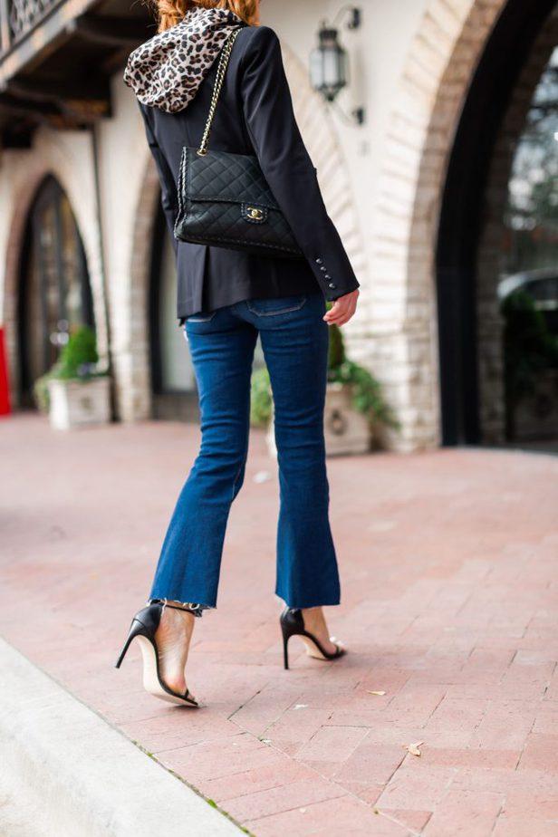 Black Blazer, Leopard Dickey, Cropped Jean, and Stuart Weitzman heels