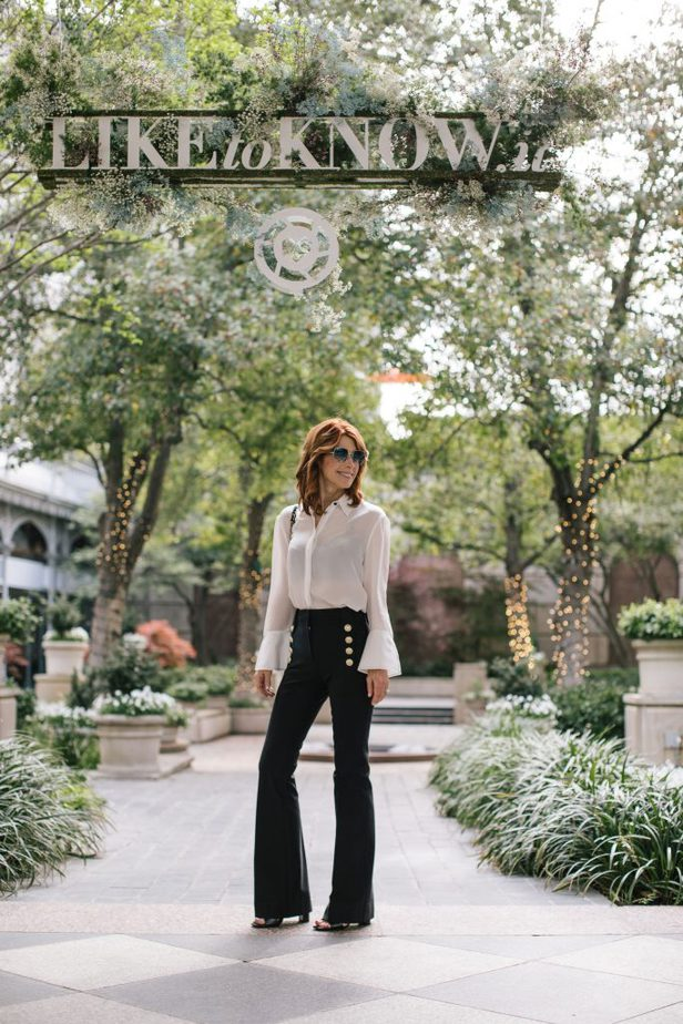 White Blouse with Black Sailor Pants with Gold Buttons