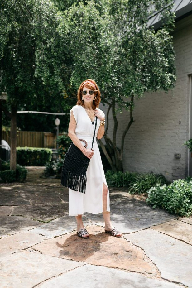 With Dress with Black Fringe Bag