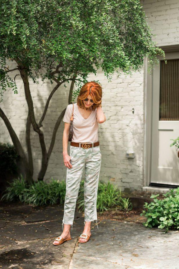 Camo Print Pants with Side Stripe