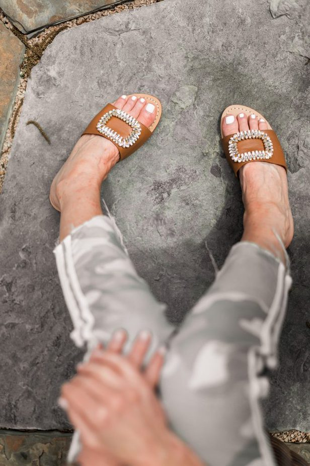 Tan Flat Sandal with Rectangular Crystal Embellishment