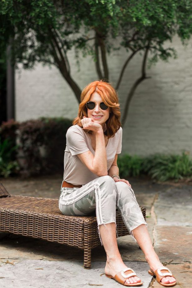 Camo Print Pants with Side Stripe by Cathy Williamson
