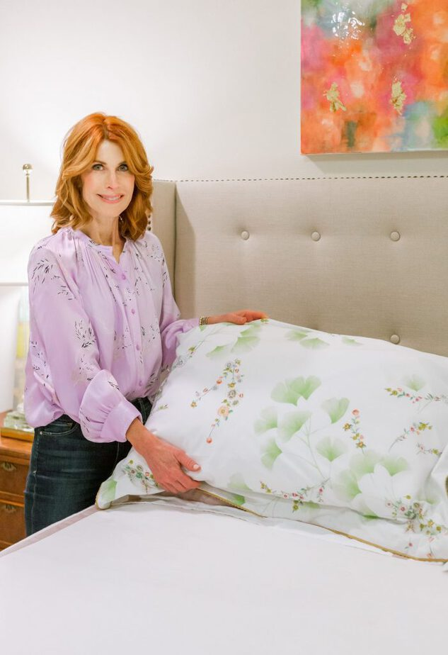 Showing the Ginko Bedding from Yves Delorme and Bloomingdale's
