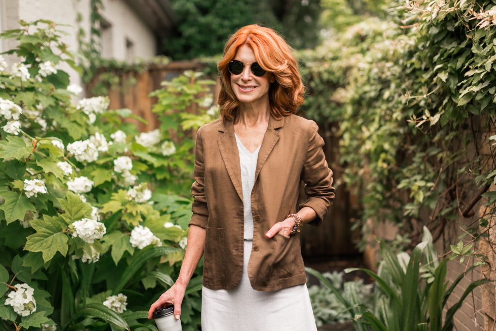 Brown linen jacket with white linen skirt