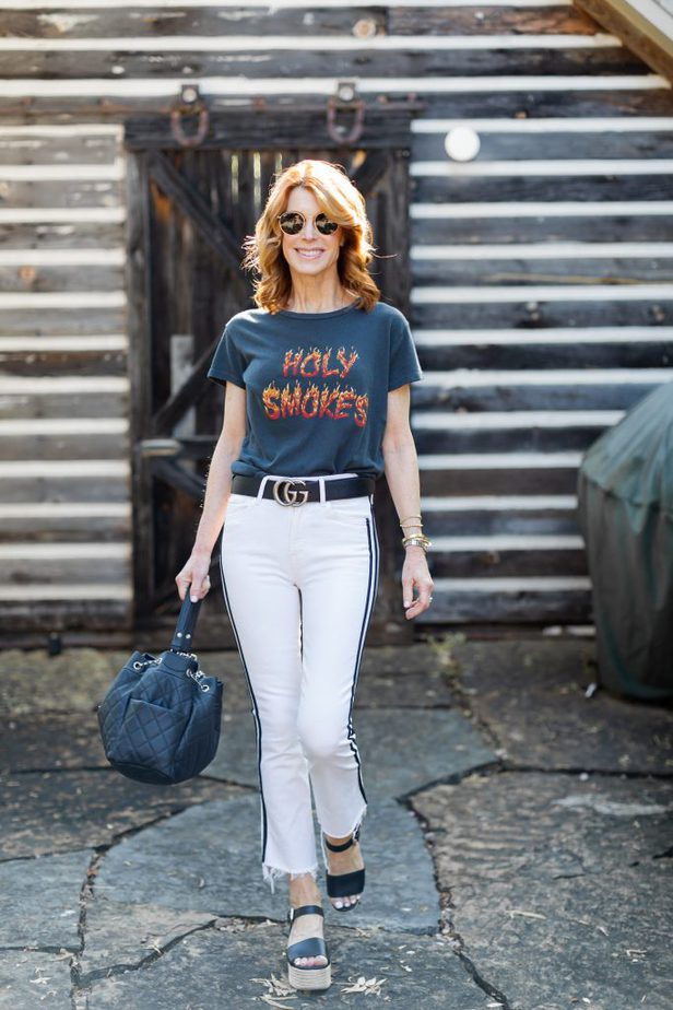 Holy Smokes Tee with White Jeans with Black Stripe