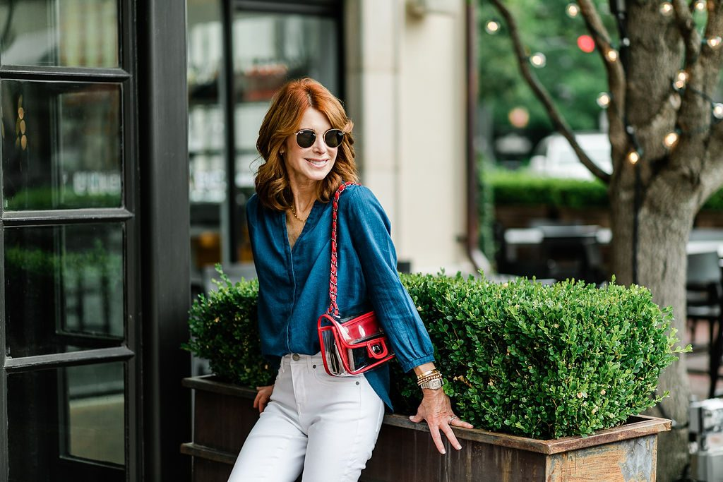 NYDJ Blue Pintuck Shirt & A Perfect 4th of July Outfit