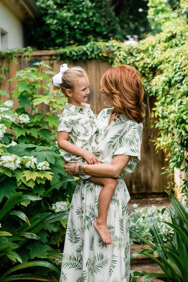 Palm Leaf Print Dress with Matching Childs