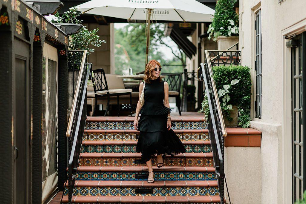 Black layered pleat dress Club Monaco