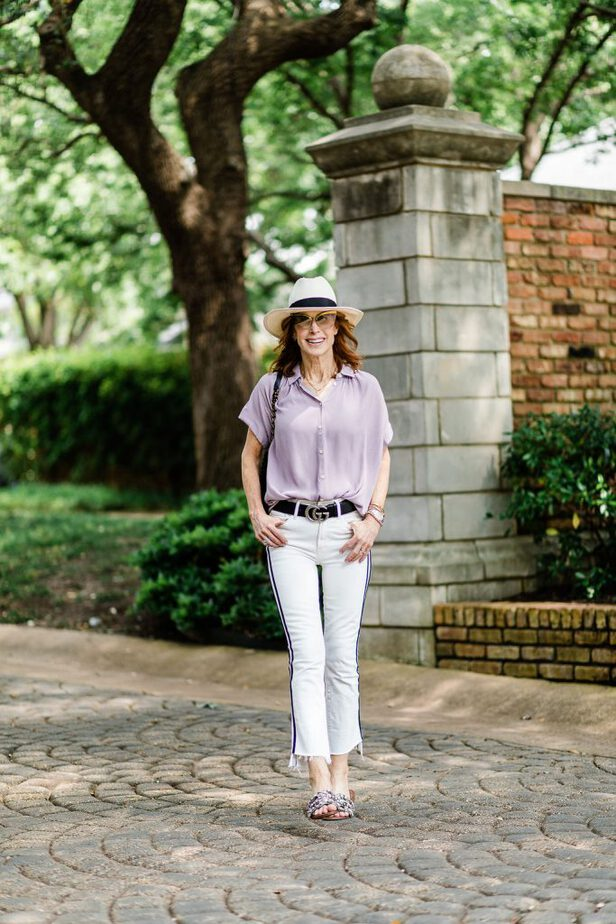 Purple Blouse with White Jeans and Black Stripe