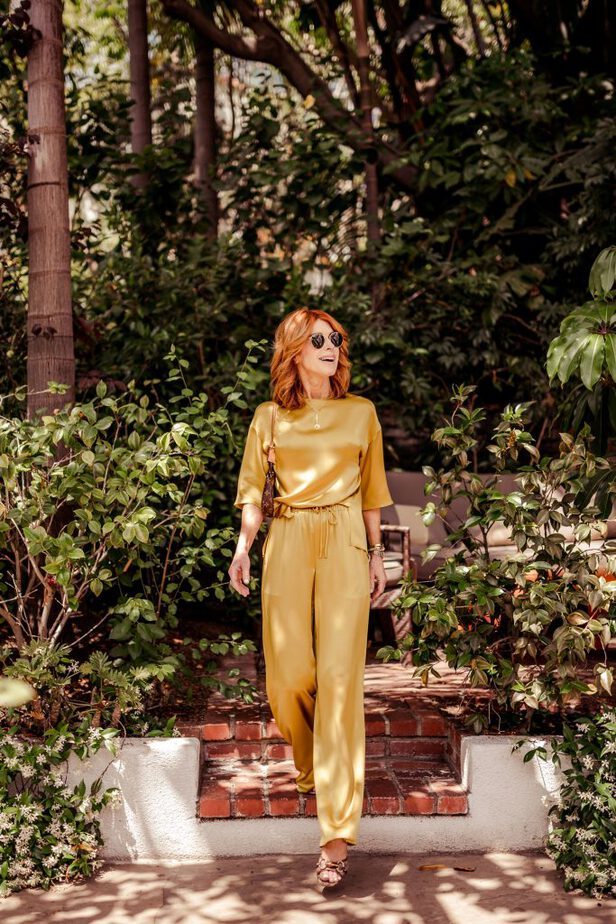 Gold Silk Matching Top and Pant