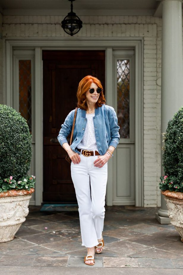 Blue Denim Bomber & a white outfit
