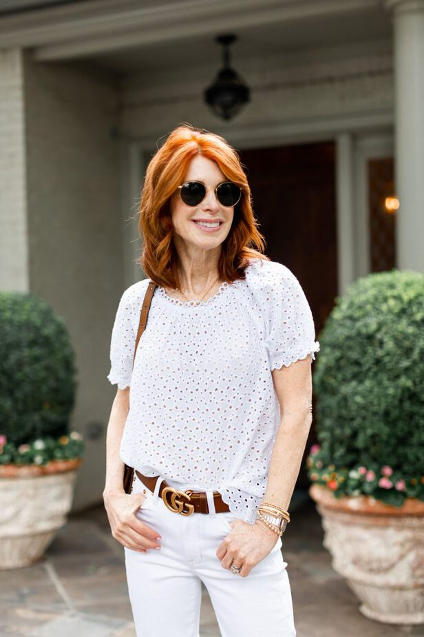 White Eyelet Top and Gucci belt