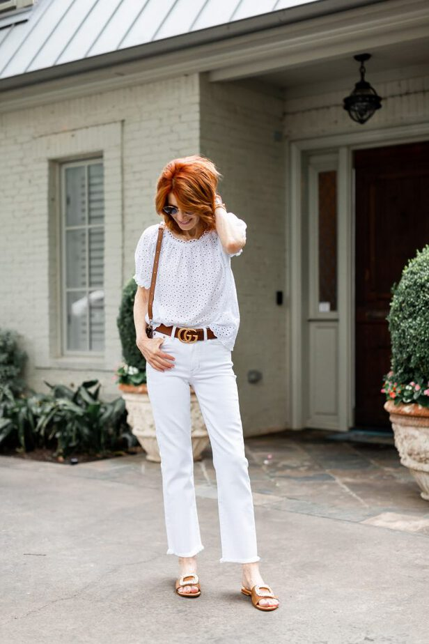 White Eyelet Top and white denim pants