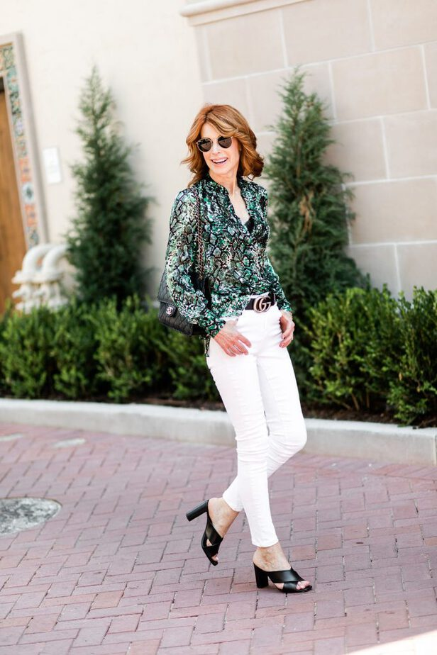 best snake print blouse from Alice and Olivia